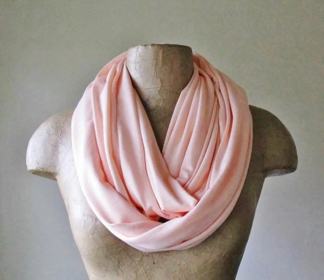 Pale Coral Pink Infinity Scarf - Handmade Circle Scarf - Lightweight Jersey Loop Scarf - EcoShag
