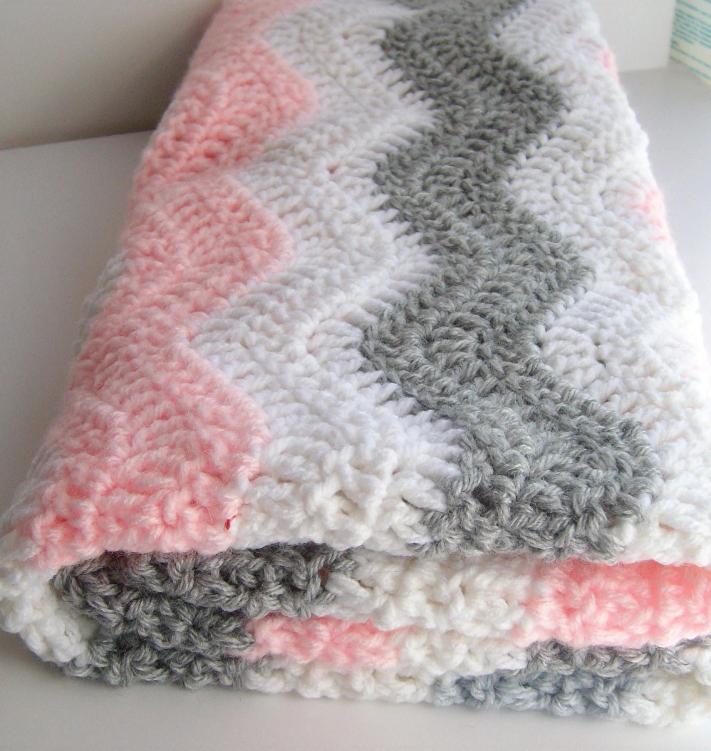 Pink And Gray Chevron Baby Blanket Crochet Baby By Puddintoes