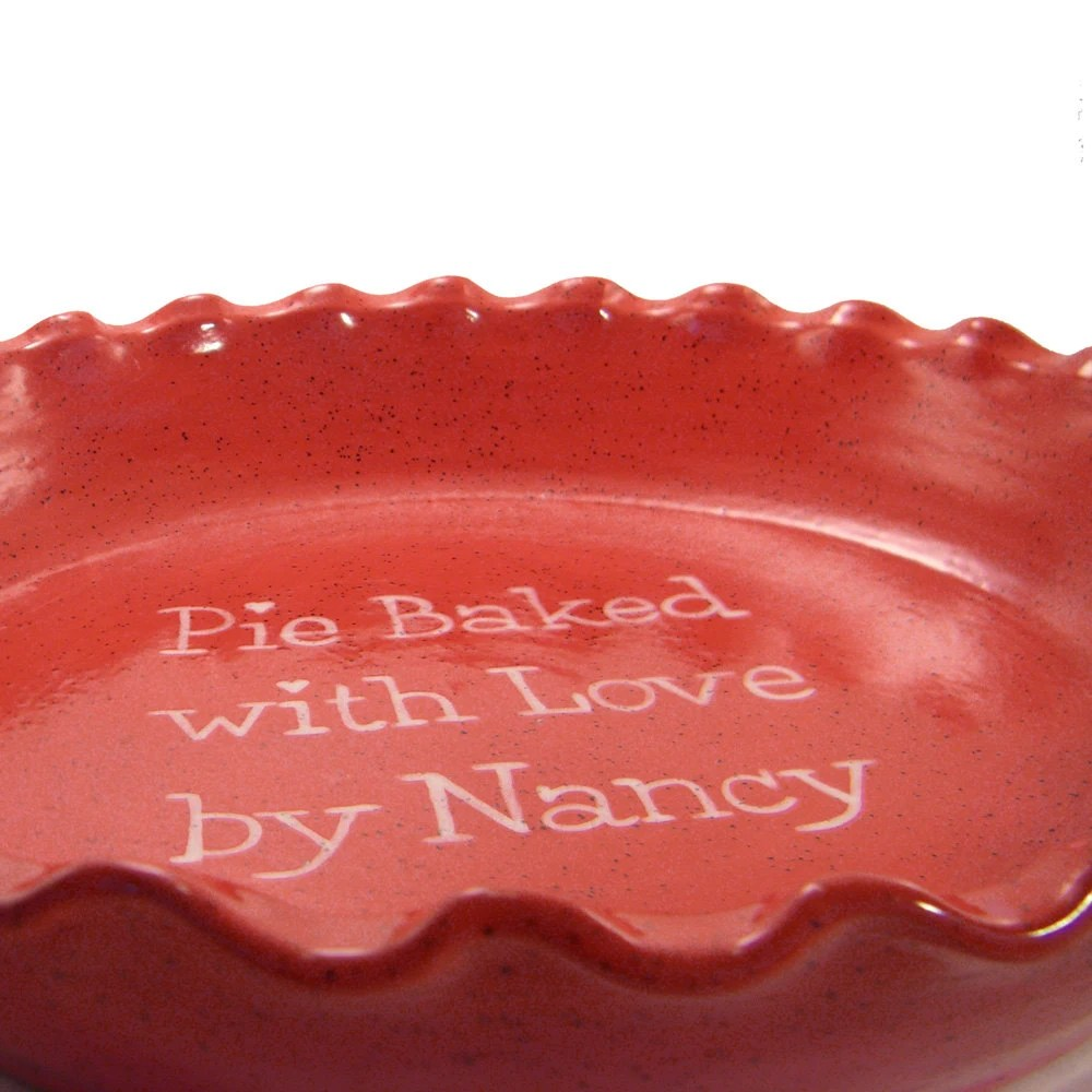 Red Speckled Pie Dish - Personalized Red Pie Plate - Stoneware Glaze Pie Plate - Personalized Ceramic Pie Dish - Personalized Baking Dish - ThePigPen