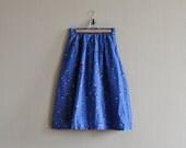 80s vintage bright blue skirt - full midi skirt - prettytalitha