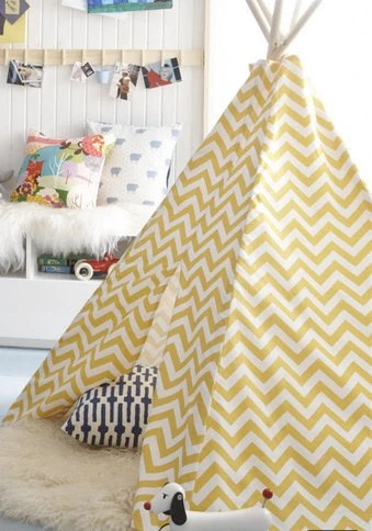 Child Toddler Kid's Play Teepee/Tent Hideaway in Zig Zag Chevron Ash Corn Yellow White
