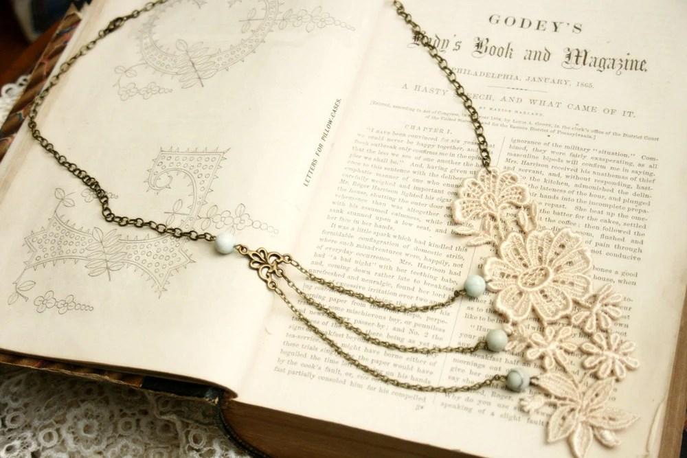 lace necklace - bridal necklace -MEREDITH- ivory blush