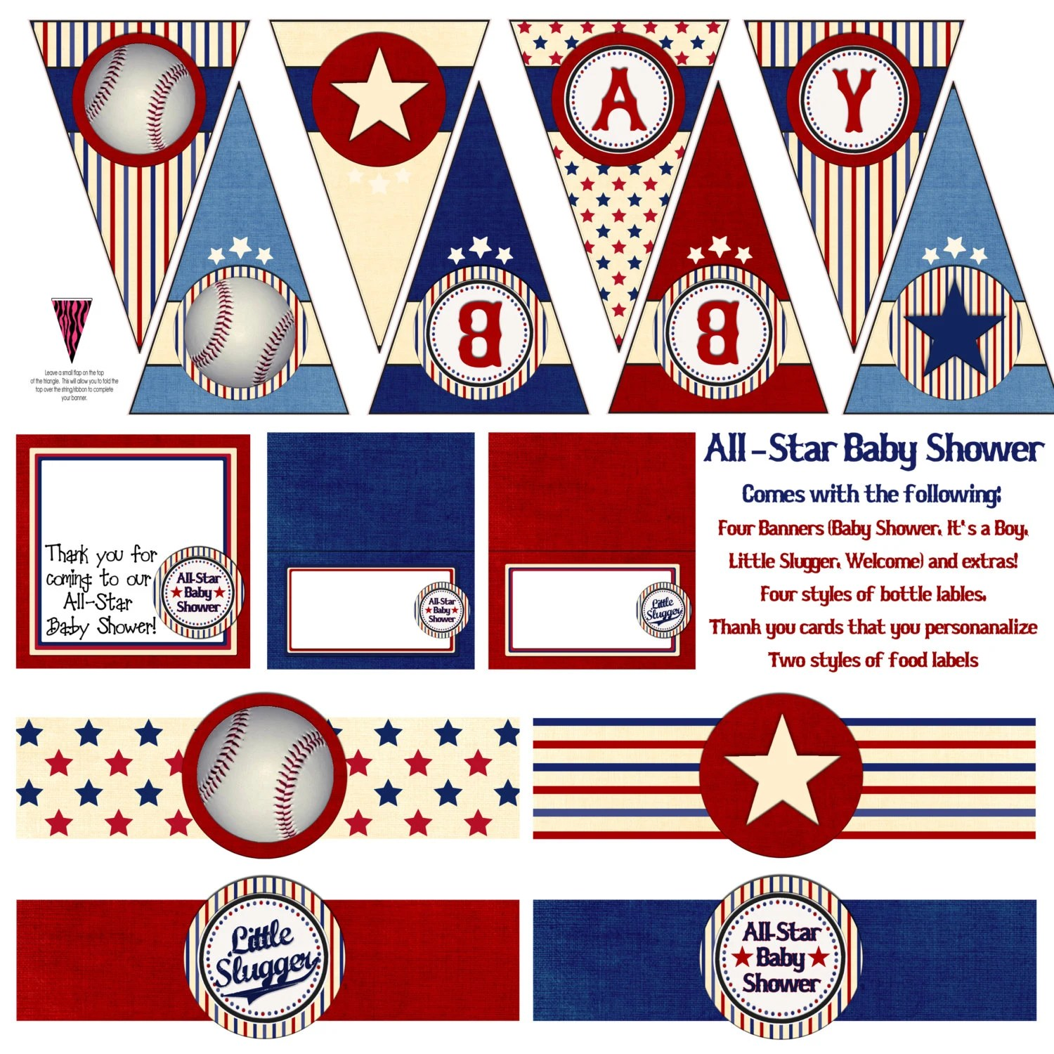 Printable All Star Baseball Baby Shower By BelladellaCreations