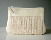 Bridal lace and leather Ruched clutch pleated lace pearl effect leather - HelloVioleta
