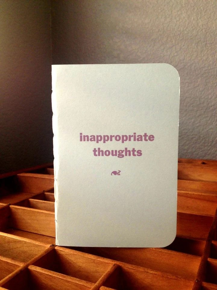 inappropriate thoughts notebook in SnoCone blue