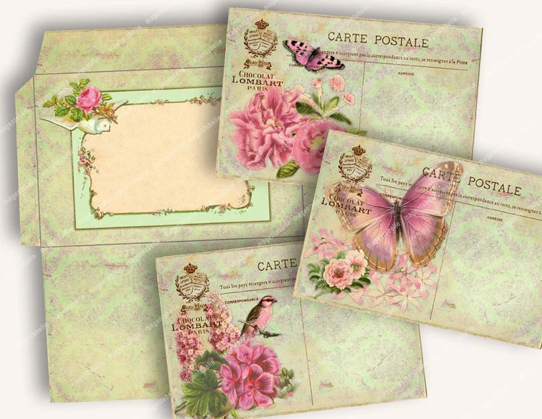 PRINTABLE FRENCH SHABBY Vintage Postcards With Envelope
