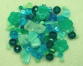 Press Glass - Caribbean mix - aqua's, teals, and mint greens PG616 - furbabiesgallery