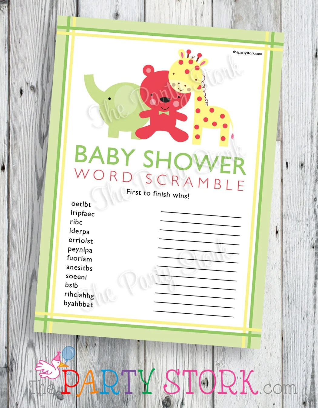 Safari Baby Shower Word Scramble Game Printable Jungle