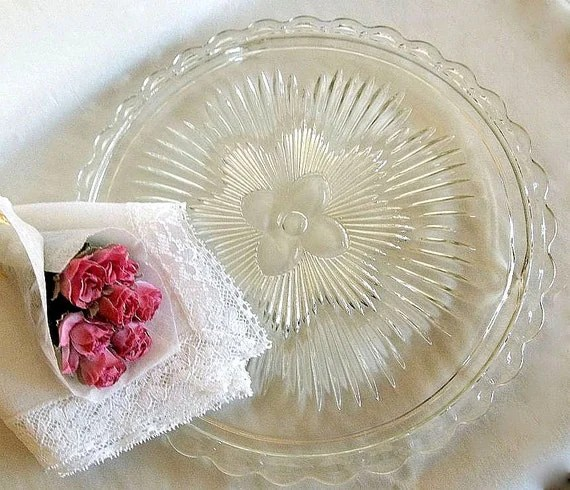 Vintage Indiana Glass Cake Plate Lace Edge Scalloped Edge