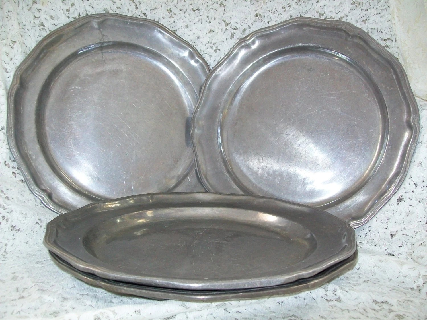 Plates Pewter Charger Vintage