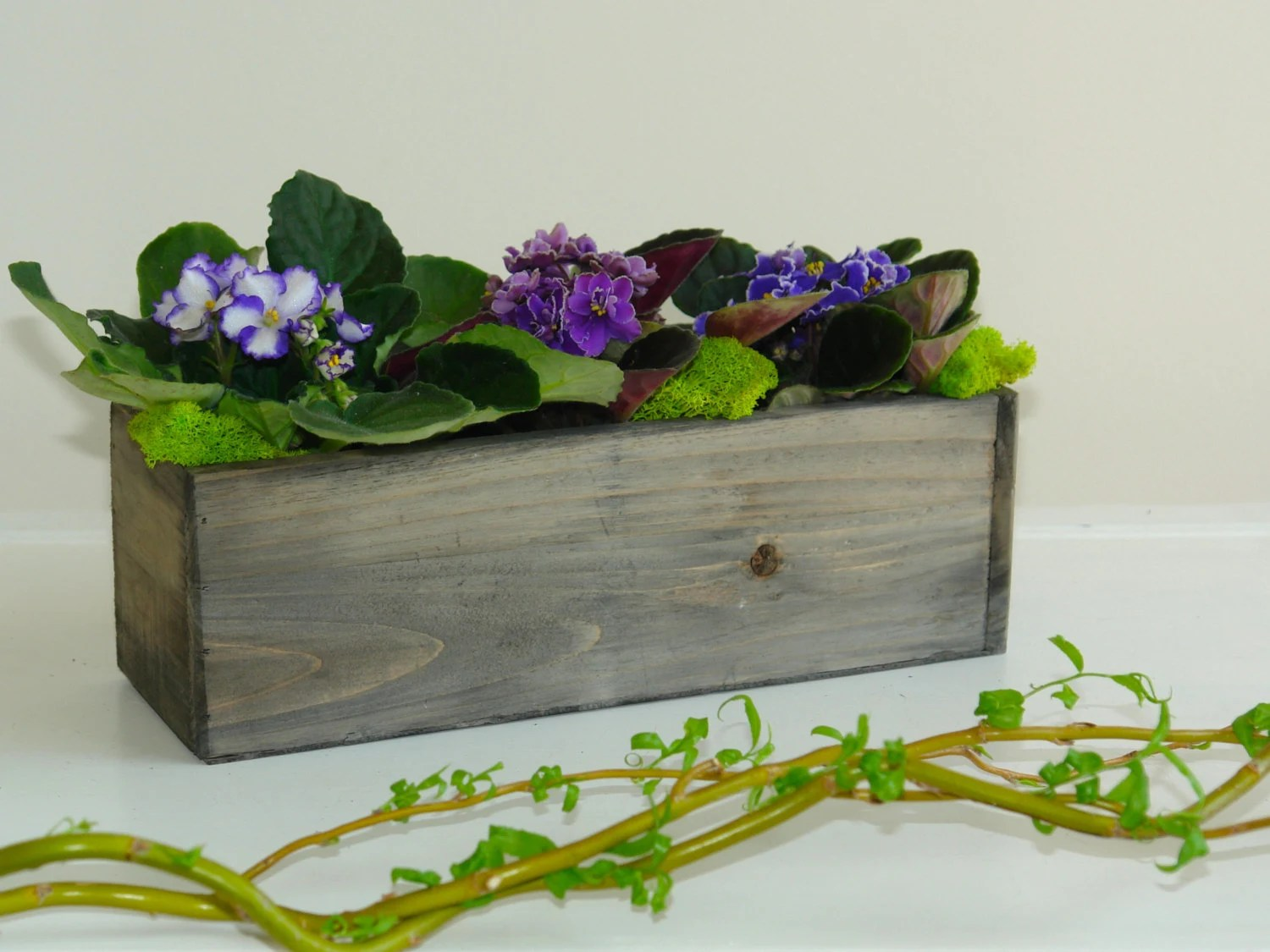 Wood Box Woodland Planter Flower Box Rustic Pot Vases For