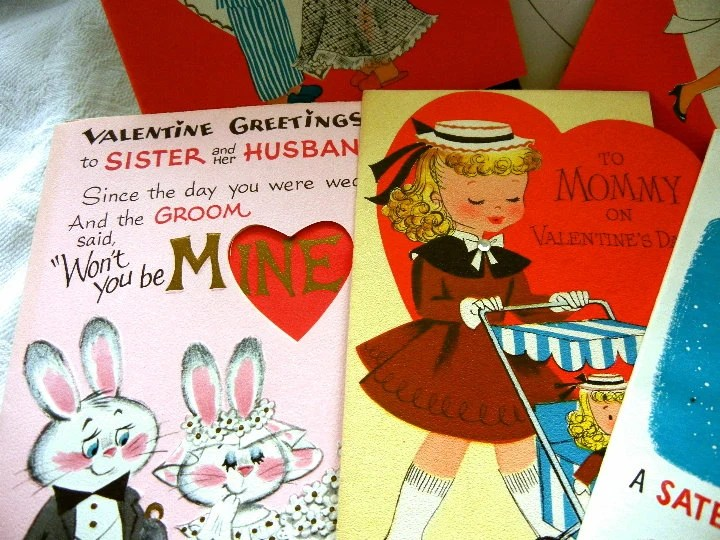 6 Vintage Valentine Cards (One Unused): 1950s Remembered, Vintage Cards - TheSandlapperShop