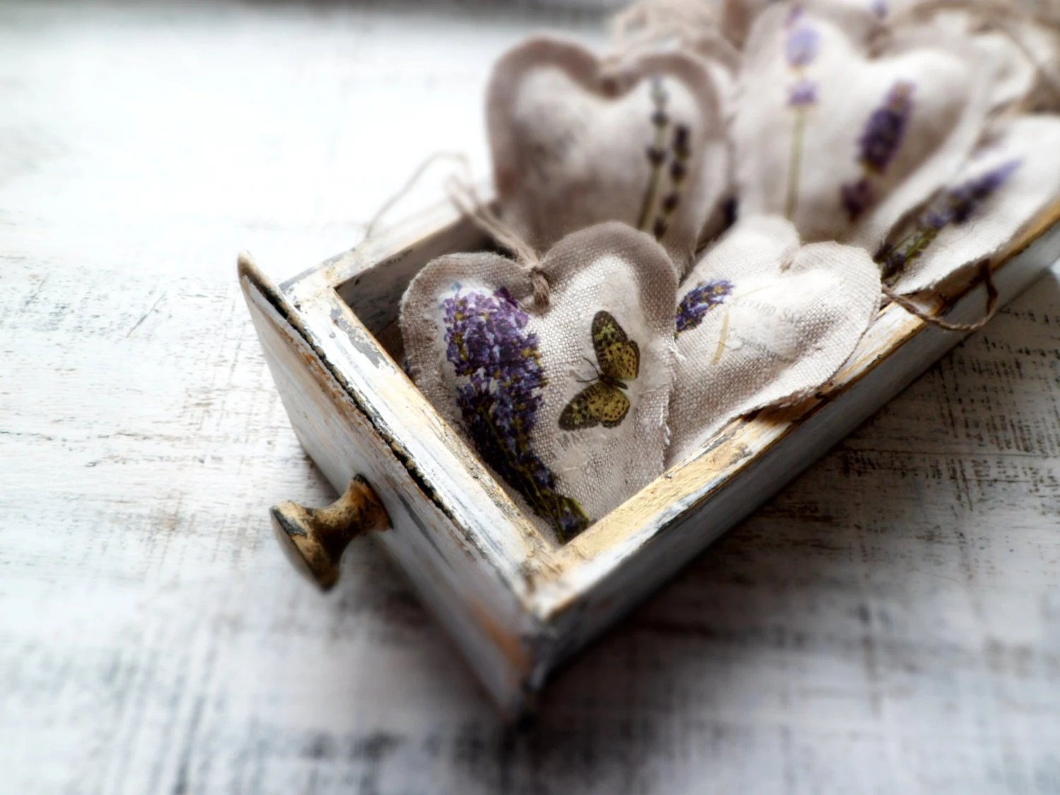 10 lavender shabby chic wedding favors wedding decor heart sachets guest favors rustic bridal shower France Provence lilac grey white - HandyHappyHearts