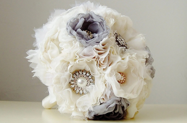 Fabric Wedding Bouquet Wedding Brooch Bouquet Handmade