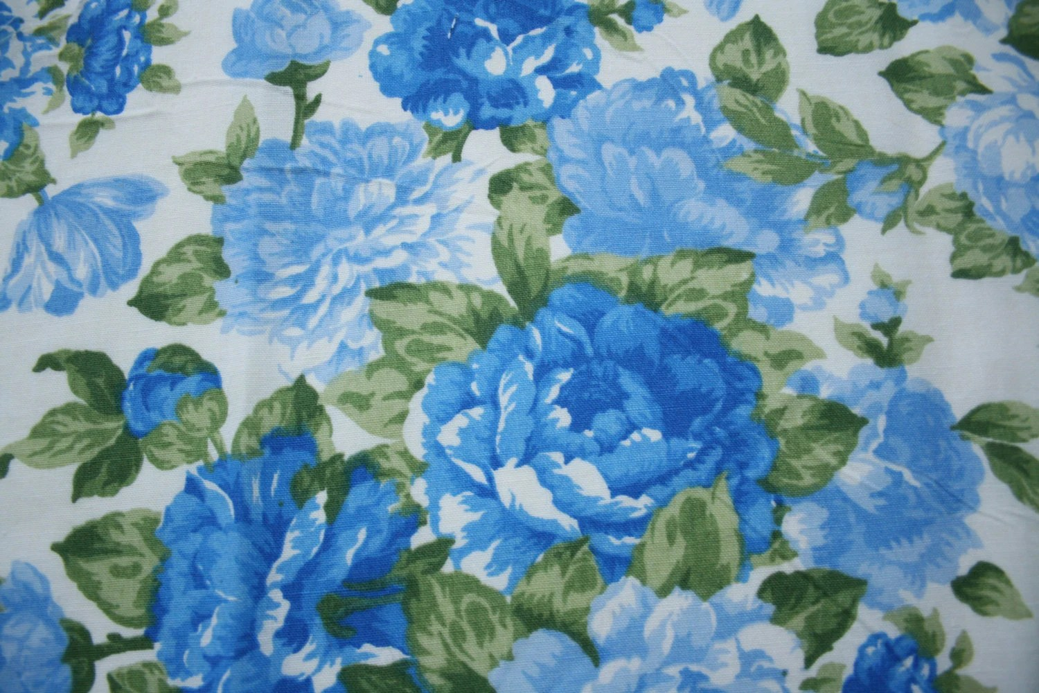 Blue Upholstery Fabric Cabbage Rose