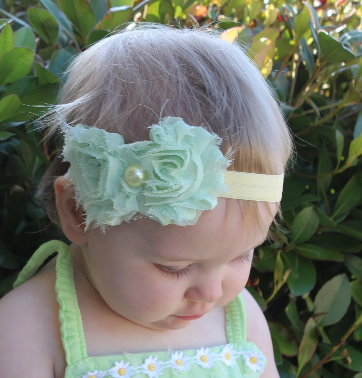 Mint Green and Yellow Shabby Chic Headband, Photo Prop - LaBandeauxBowtique