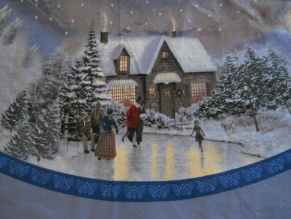 Thomas Kinkade Christmas Tree Skirt Fabric Panel