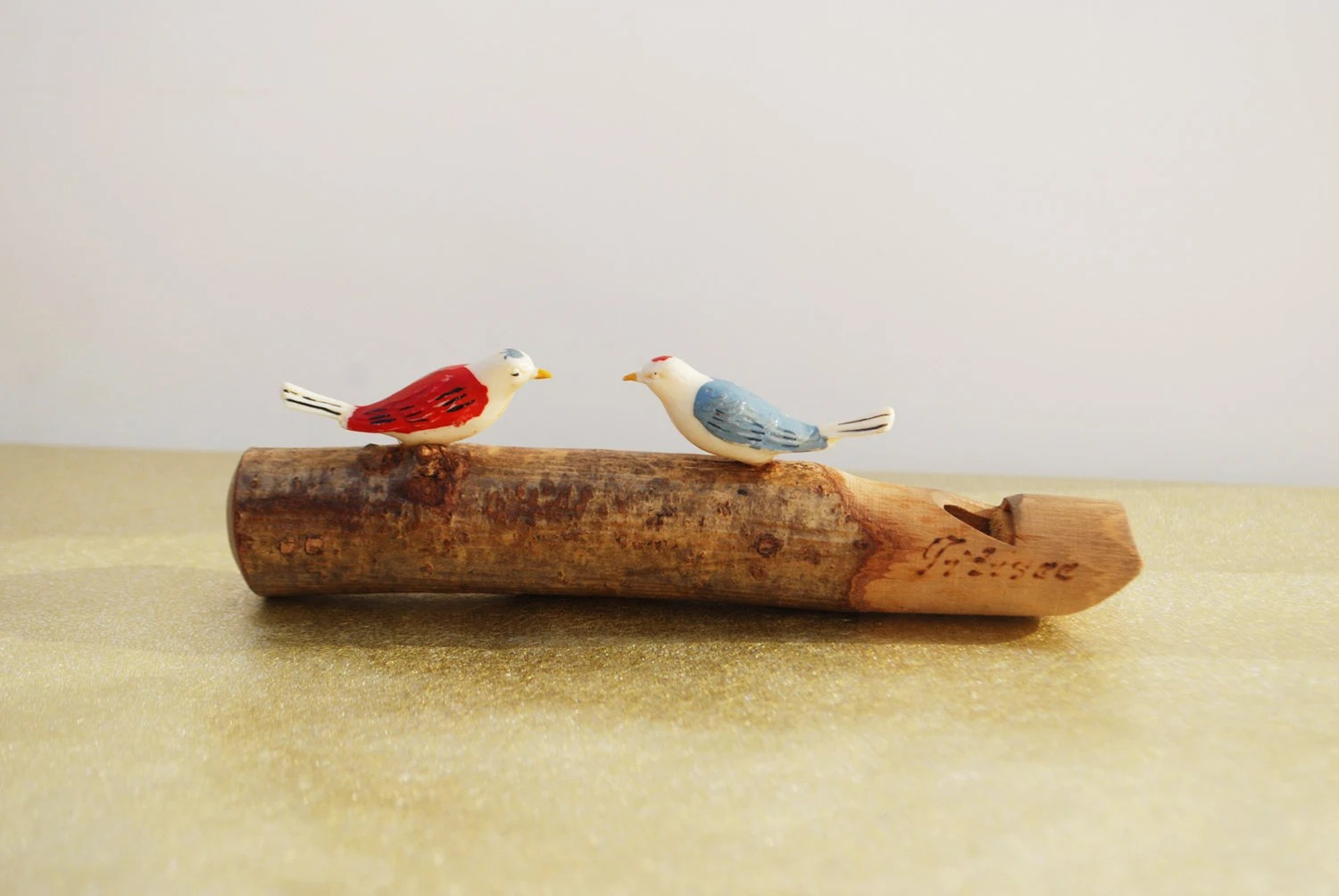 Vintage Wooden Bird Whistle - Wood Whistle, Vintage Children's Toy - copperseal