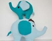 Blue fabric elephant, nursery fabric elephant, baby shower gift, baby plush toy, ready to ship - LittleFairyCottage