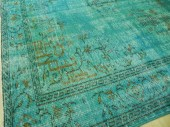 ON SALE - 6.6x10.2 Ft (210x310 cm) - Turquoise Blue OVERDYED Vintage Handmade Turkish Rug, wool & cotton - WeMakeRugs