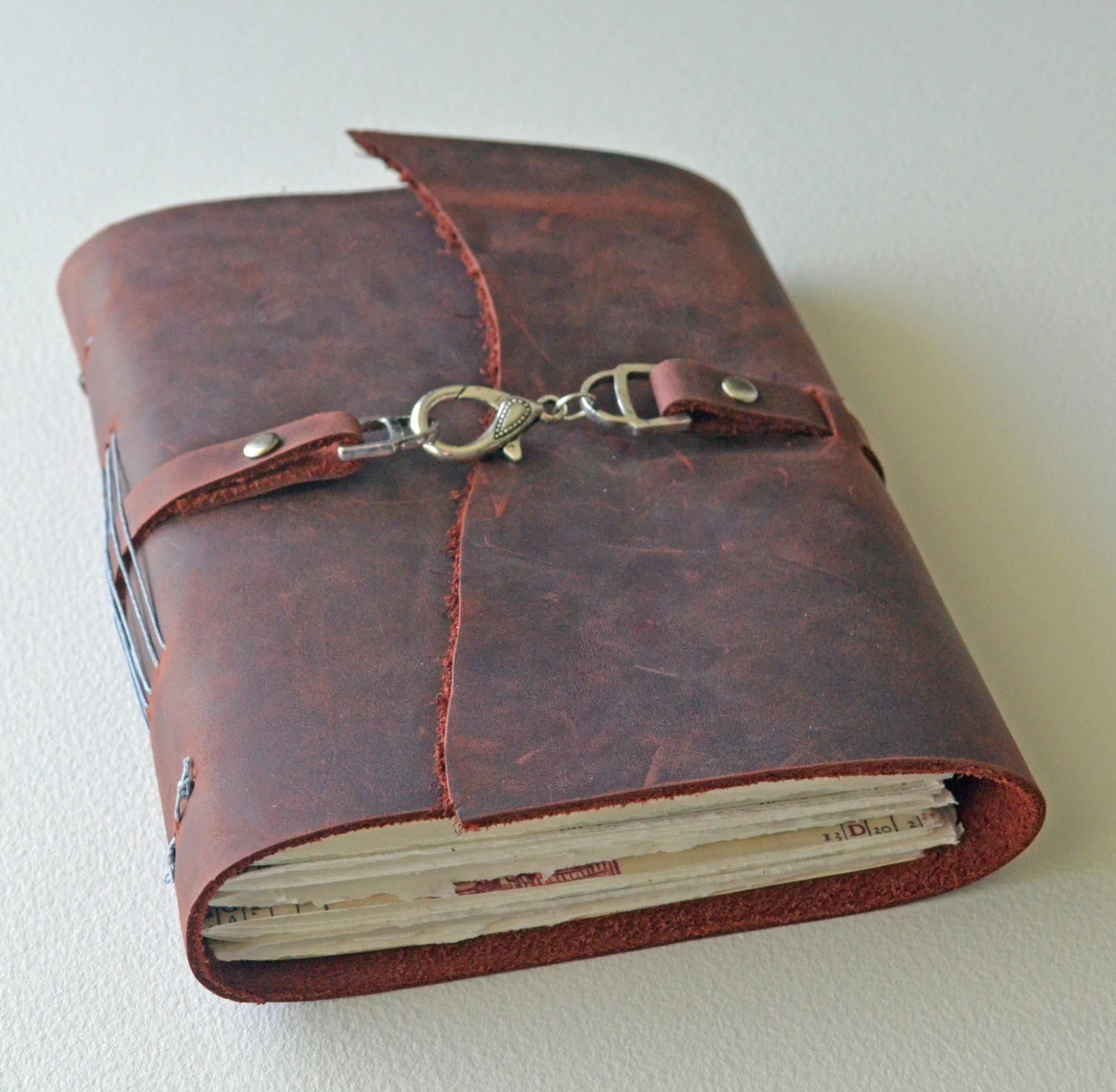 "Leather Journal Diary - Handbound - Rustic Deep Red - 5x7"" Pages"