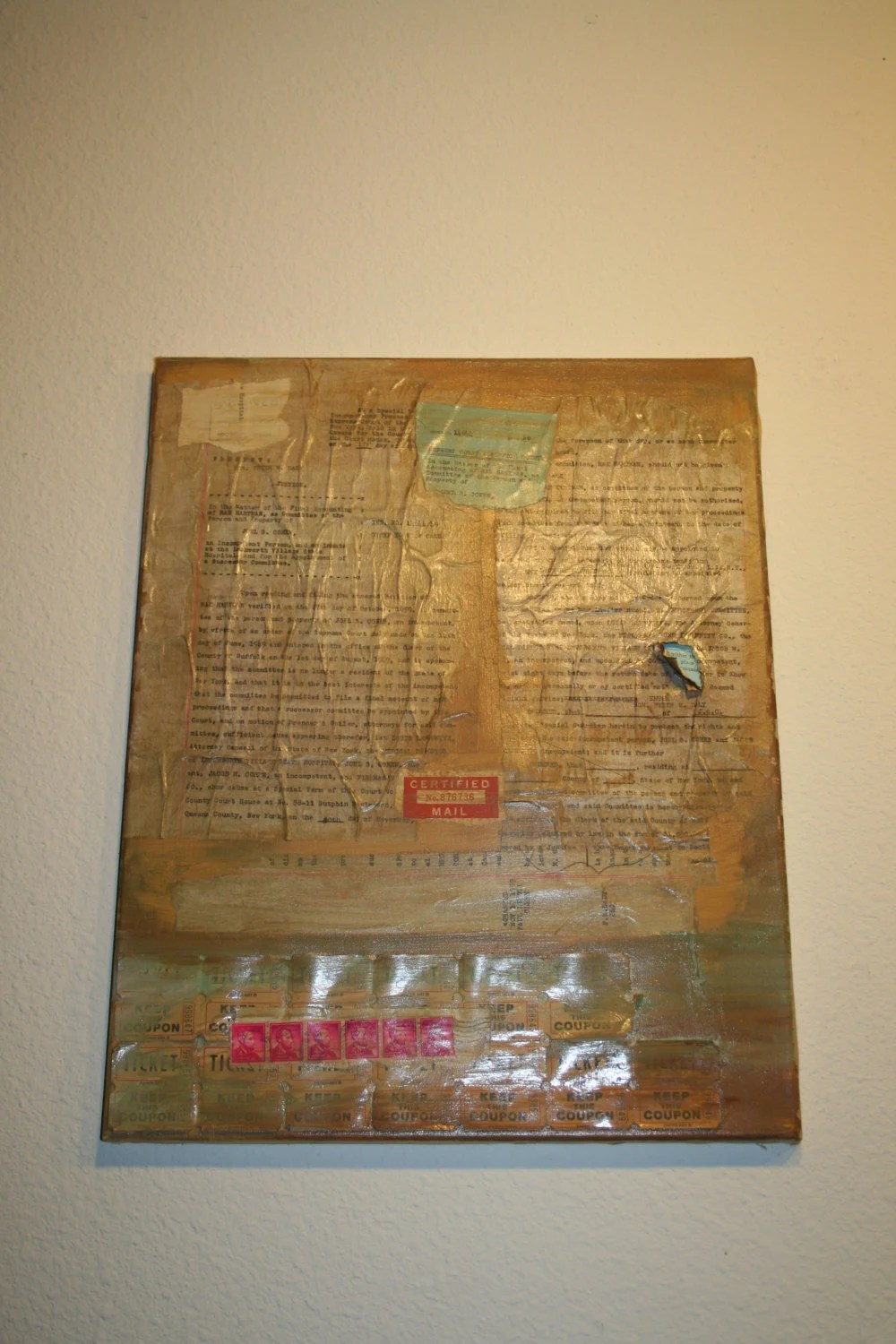 DECAY by Rhian Ferrer Artgland 2009 Vintage Mental Health Documents Painting Canvas 16 x 20