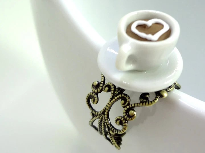 I Heart Coffee Miniature Cup Ring - Glamour365