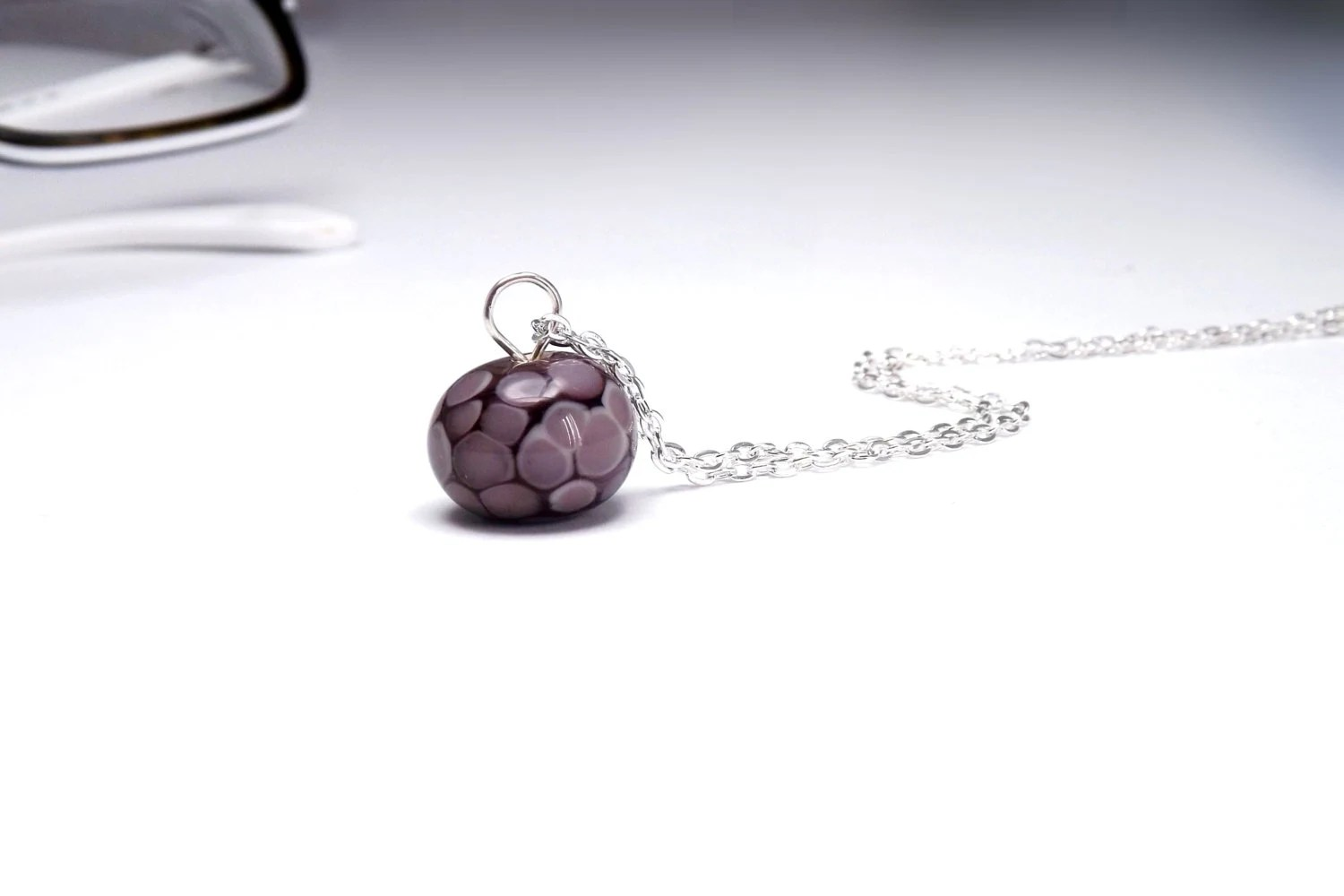 necklace lampwork bead purple glass handmade - lampwork beads - amabito