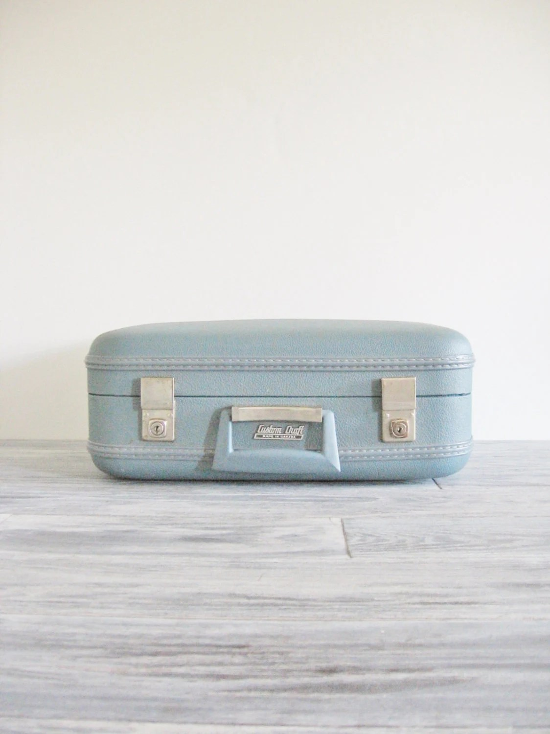 Vintage Pair of Custom Craft Blue Suitcases - CocoAndBear