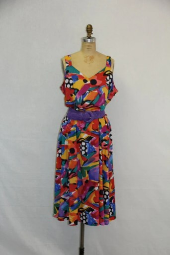 Plus Size Vintage Sun Dress 1980s Bold Bright Abstract Print XXL