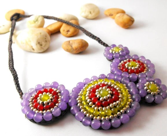 Handmade Necklace with Colorful Agates Pastel Style - AmaritaProject