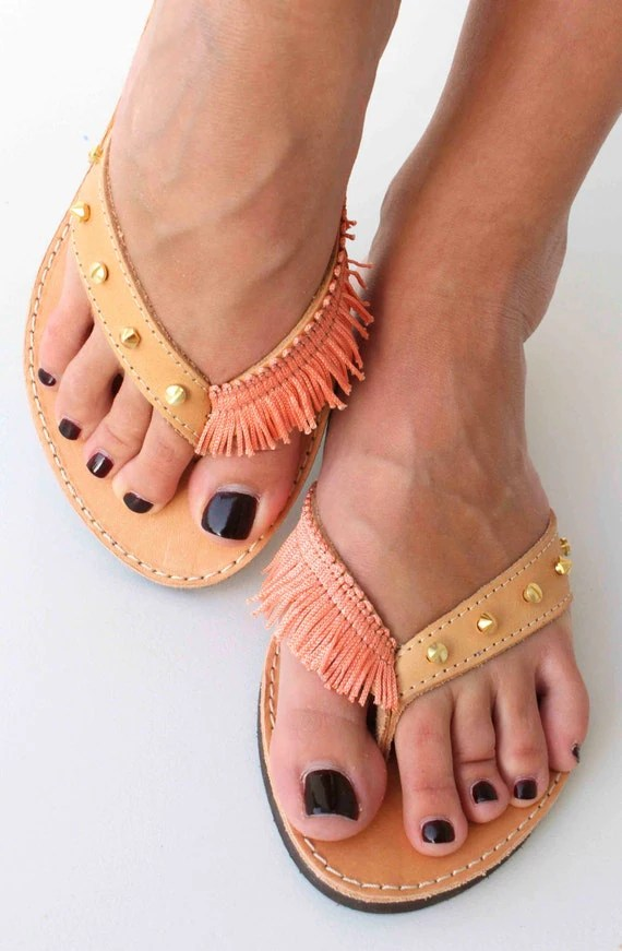 Coral flip flops - Leather sandals with studs and coral ribbon - Greek leather sandals - Gold and coral Sandals - Summer Shoes