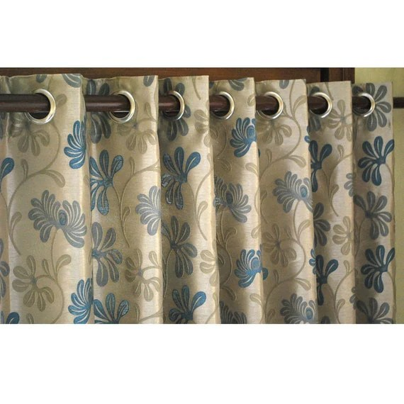 Teal And Beige Ivy Curtain Panels 52x84 Grommet
