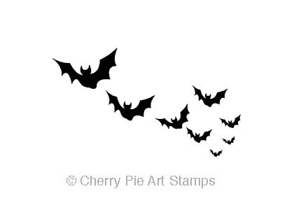 Small FLoCK of BATS- CLING STAMP for acrylic block by Cherry Pie Art Stamps - cherrypieartstamps