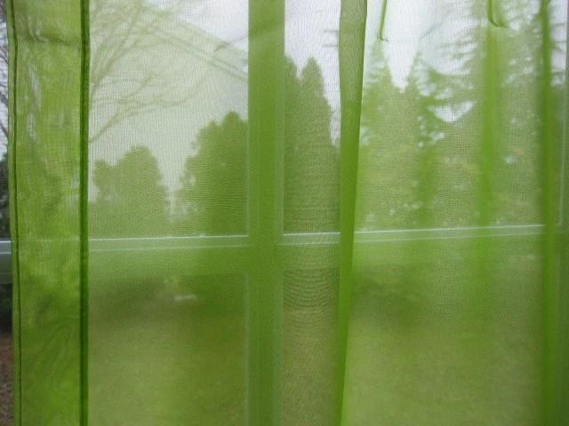 Vintage Sheer Curtain Chartreuse Green Sheer Curtain Panel 94