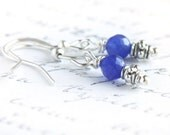 September Birthstone Earrings, Sterling Silver Wire Wrapped Blue Sapphire, Tiny Dainty Little Earrings, Dangle Earrings, Modern Earrings - KapKaDesign