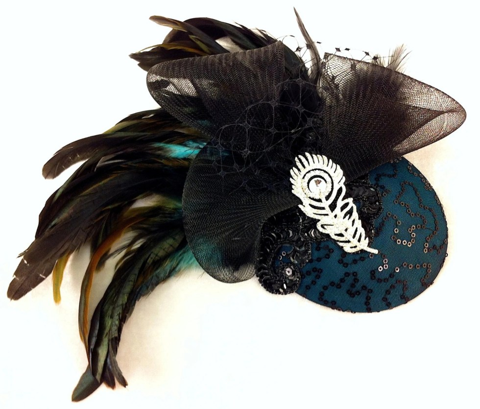 Bridal Hat, Teal Green Silk, Feather Fascinator, Wedding Head Piece, Fascinator, Cocktail Hat, Crystal Rhinestone Brooch