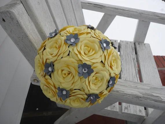 Items Similar To Yellow Rose Bridal Bouquet Wedding Grey