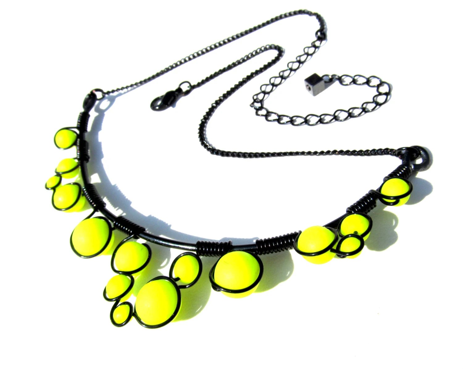 Neon Yellow  and Black Wire Wrapped Necklace - Neon Yellow Czech Glass Beads wrapped in black wire with adjustable chain - CarrieEastwood