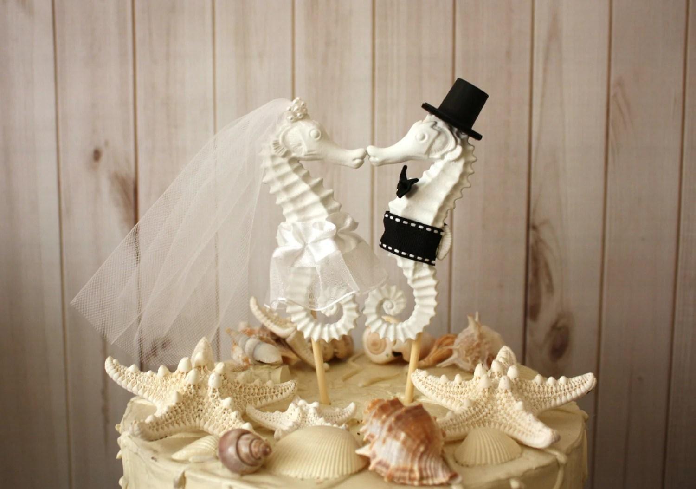 Seahorse Wedding Cake Topper Kissing Seahorse Couple Beach