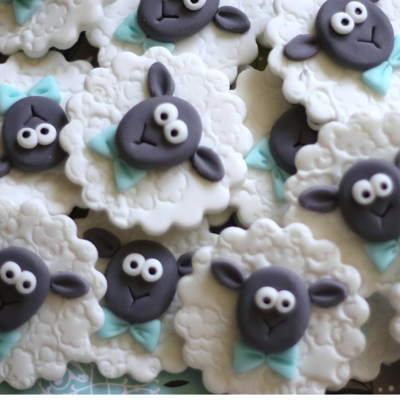 Sheep Fondant Toppers With Bow Ties Perfect For Cupcakes