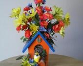 Colorful Indoor Spring Birdhouse Floral Arrangement - purpleinkgraphics