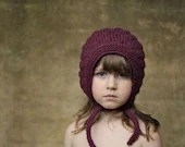 Bumpy Bonnet, Plum, Kid Size. Handmade, Vintage-Inspired Woollen Hat - typicallyred