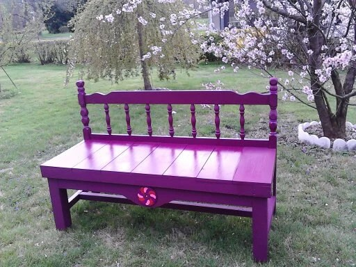 headboard garden bench Benches made from headboards shabby chic to finished by MandWs