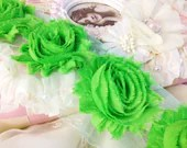On Sale 1/2 yard LIME GREEN Shabby Chic Chiffon Frayed Rose Flower Trim- 7 Flowers - suhafuha