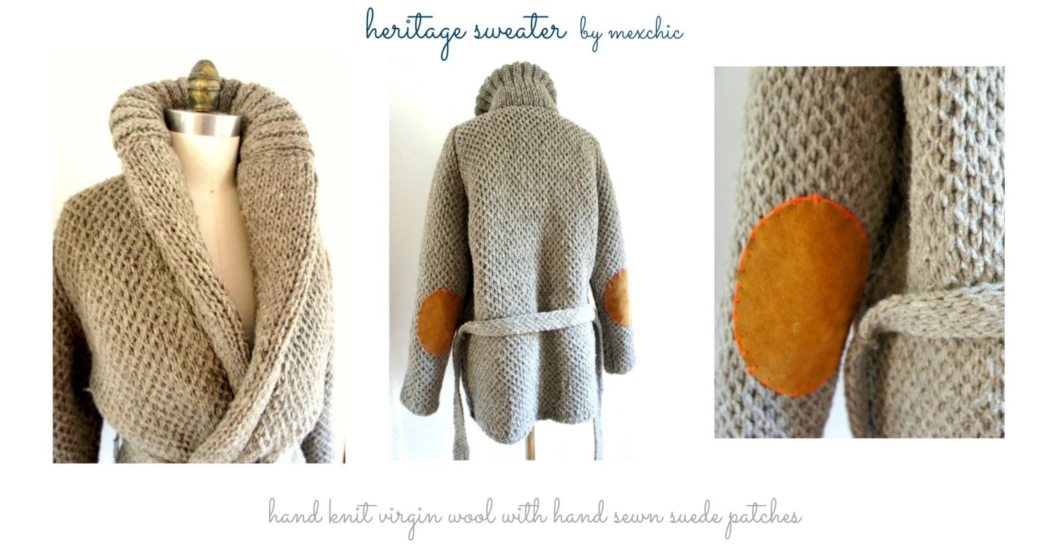 Hand Knit Wool Fisherman Sweater with Roll Neck and Suede Elbow Patches ((Size Large)) - mexchic