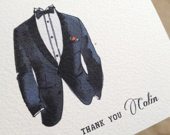 Groomsman Thank You Card with Tuxedo- Personalized Wedding cards for Men