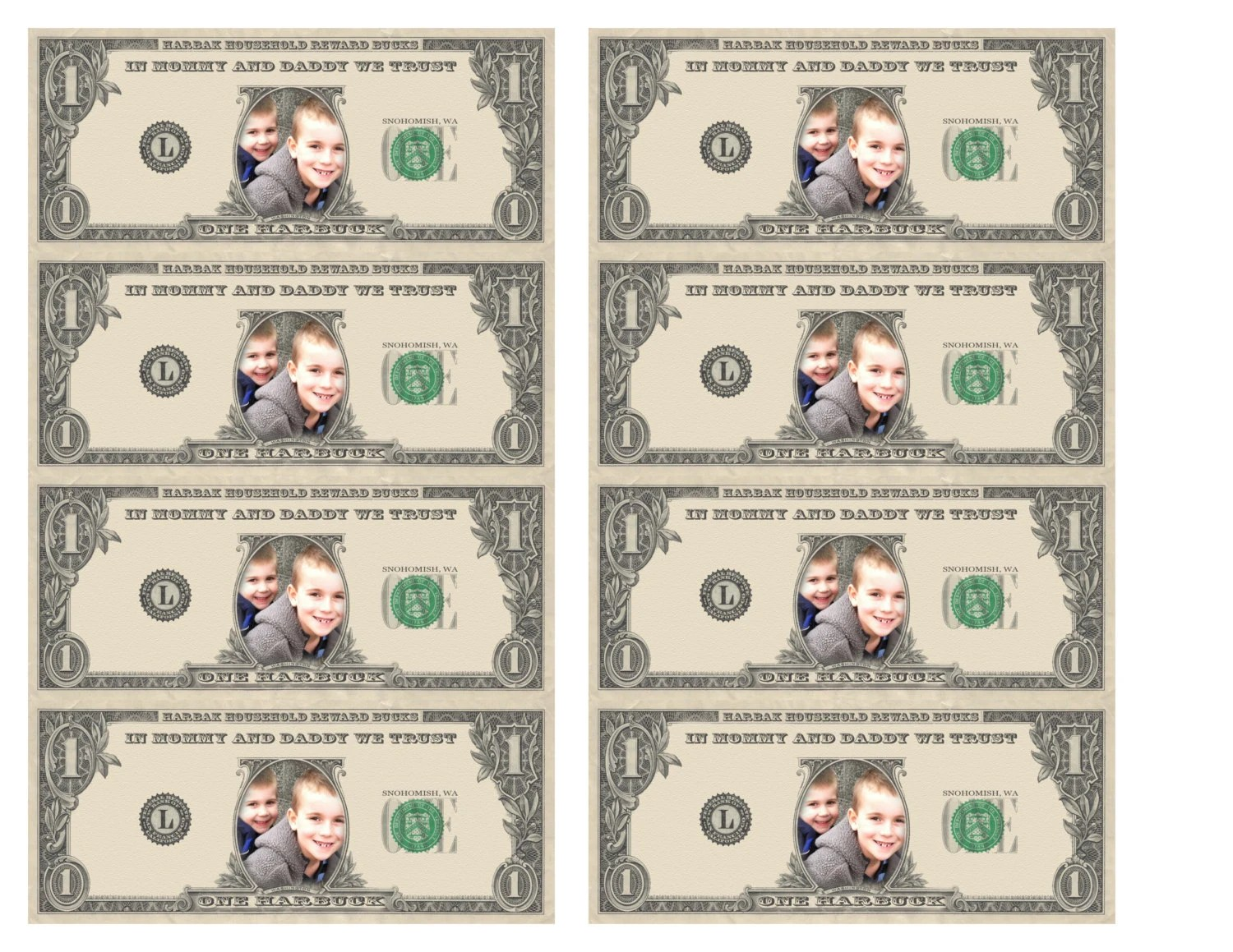 Personalized Kid S Reward Bucks Dollars Play By