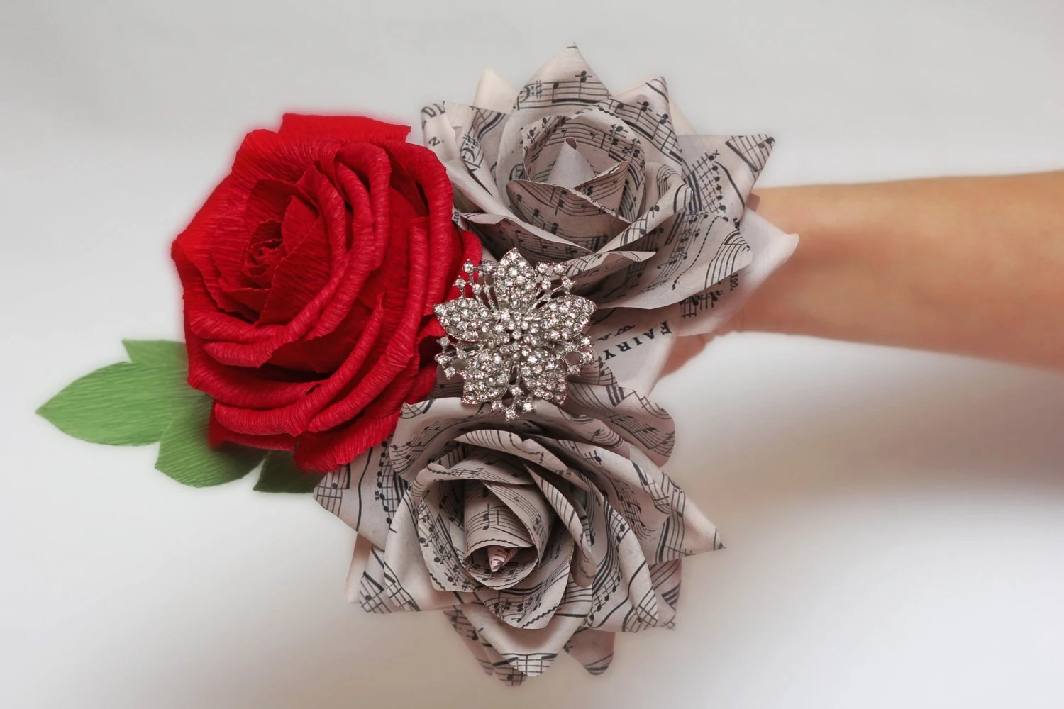paper roses and brooch bouquet, broach bouquets, music notes bouquet,
