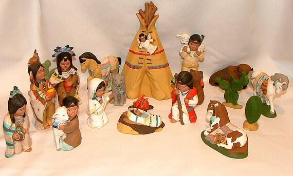 Ceramic Native American Indian Nativity Set 19 Pieces Rustic